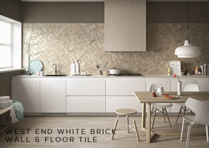West End White Brick Wall and Floor Tile
