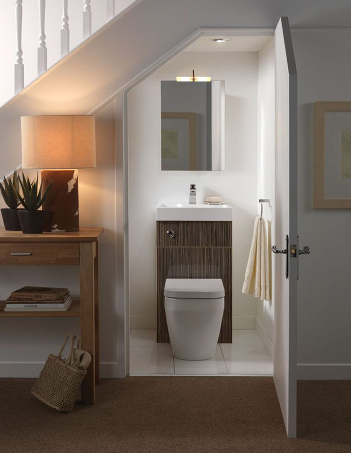 small toilet and sink in one cloakroom