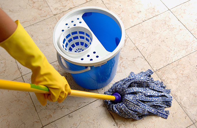 cleaning tiled floors