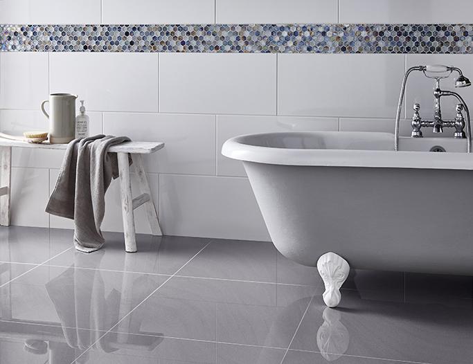 sandwaves grey white wall hex mosaic
