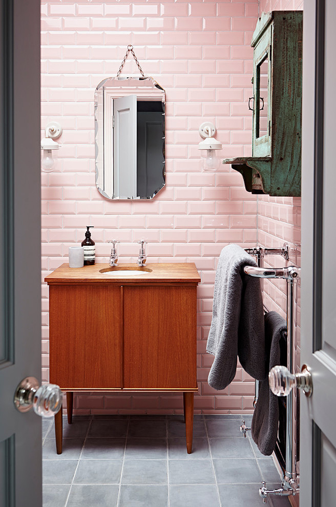 blush pink bathroom with vintage accents