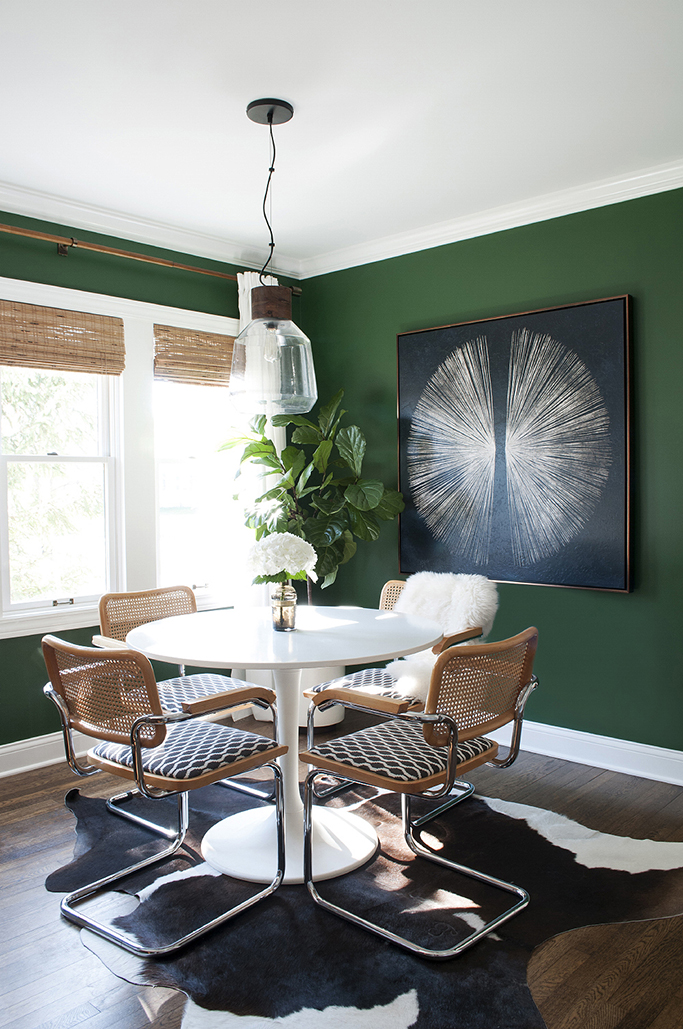 dark-green-dining-room-with-lighting - Tile Mountain