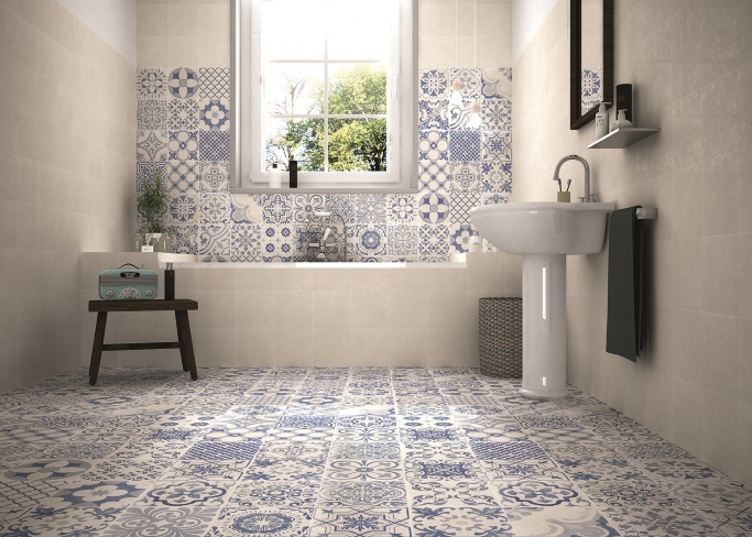 Patterned floor tiles to turn heads tile mountain for Toile de verre salle de bain
