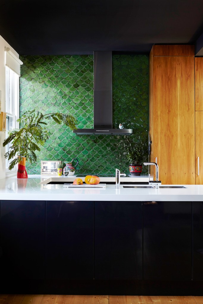 green fish scale tiles