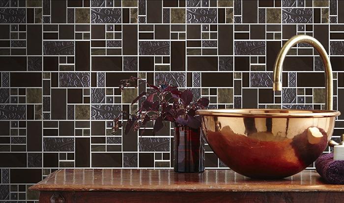 Nice Marron Stoneglass Mix Mosaic Tiles from Tile Mountain
