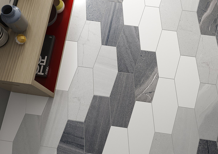 Stone Cut Hex Matt Anthracite Wall and Floor Tile from Tile Mountain