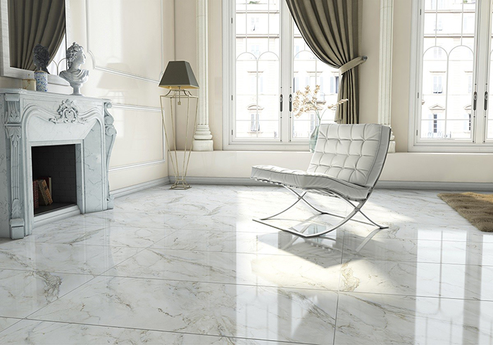 Anderson White Polished Floor Tiles