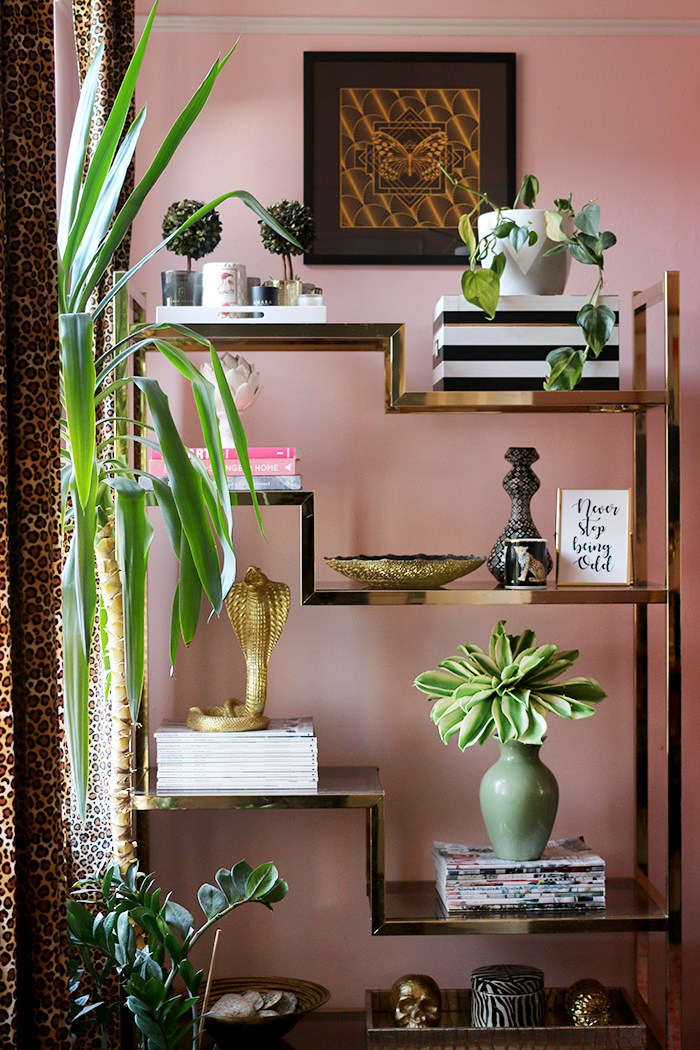 Gold Shelving Unit