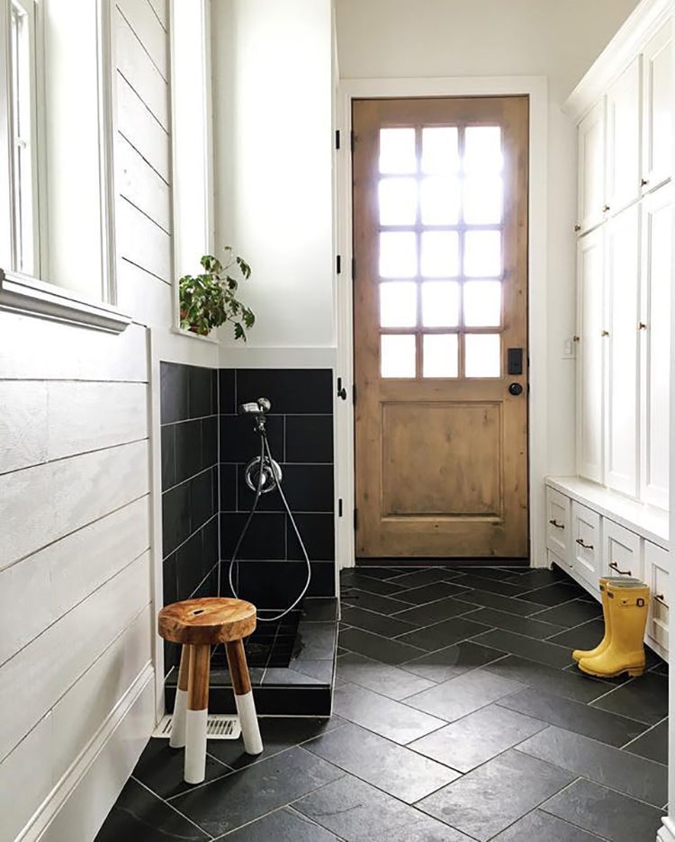 Mudroom with shoe shower