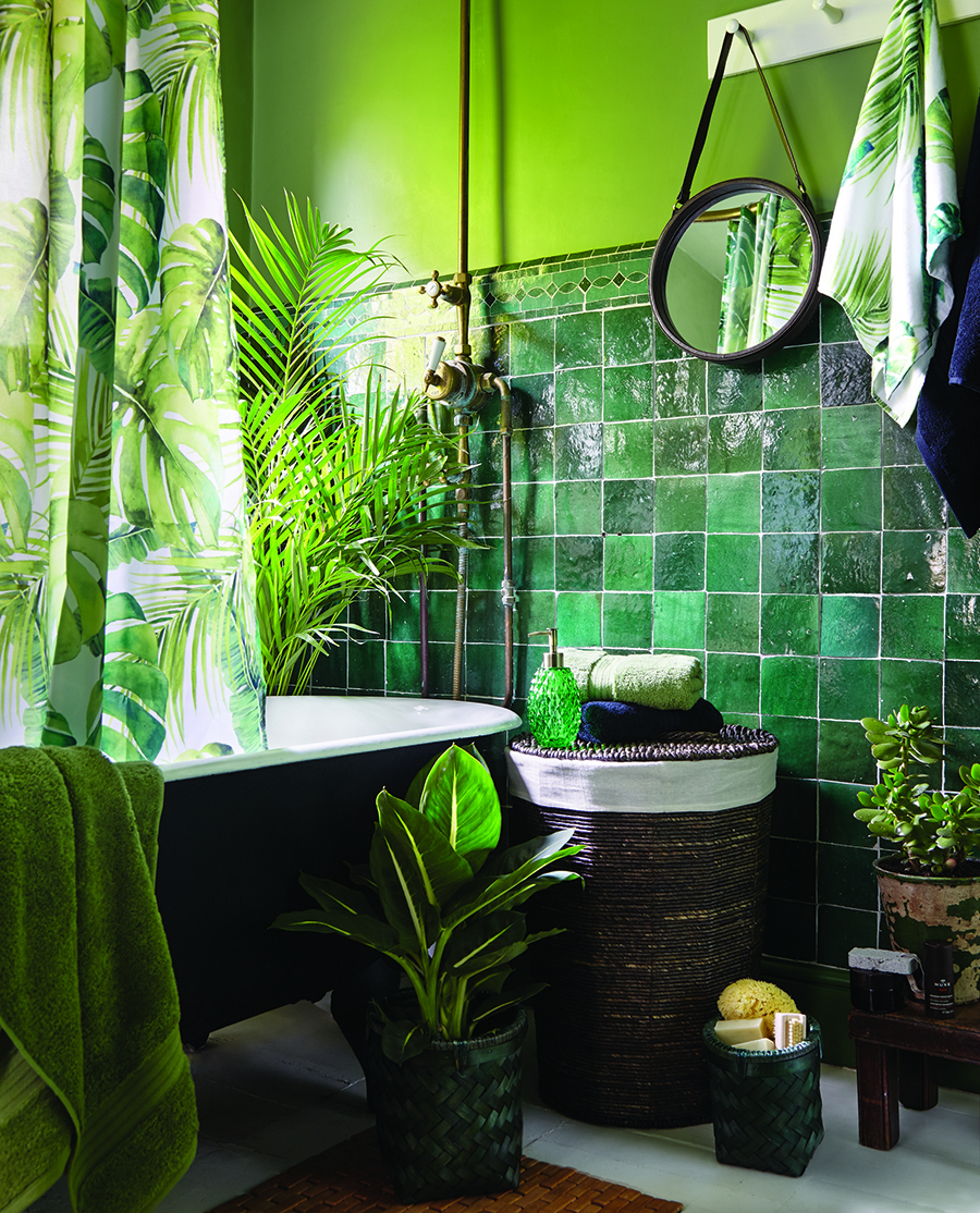 Green bathroom with plants