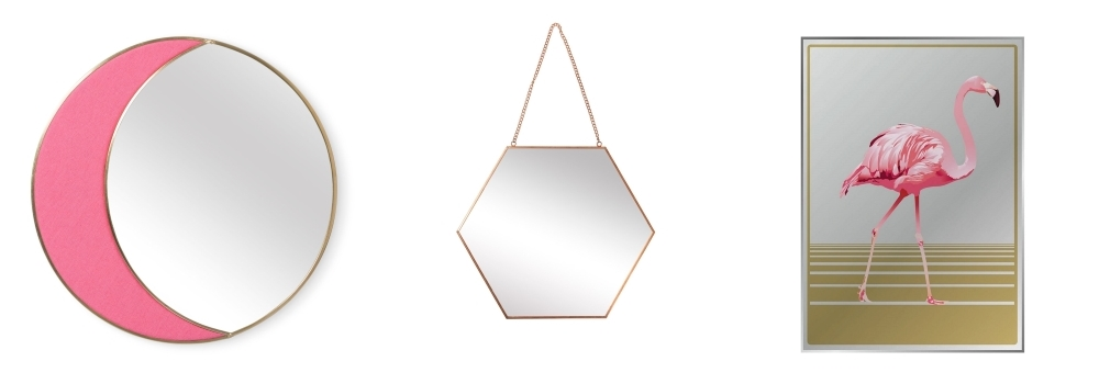 Pink Crescent Mirror / Gold Hexagon Mirror by Oliva Bonas / Flamingo Mirror by Red Candy
