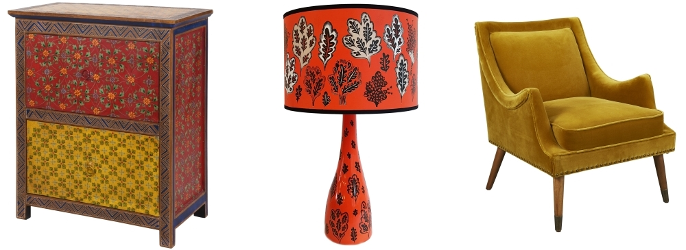 Zhu Zhu Hand-Painted Two-Drawer Chest by Ian Snow | Park Life Lampshade by Lush Designs | Mustard Velvet Chair by HomeSense
