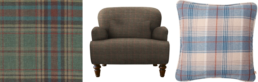 Buchan Plaid Wool Fabric by Ian Sanderson | Lewis Armchair by Tetrad from John Lewis | Florence Cushion in Lorne Plaid by Neptune.