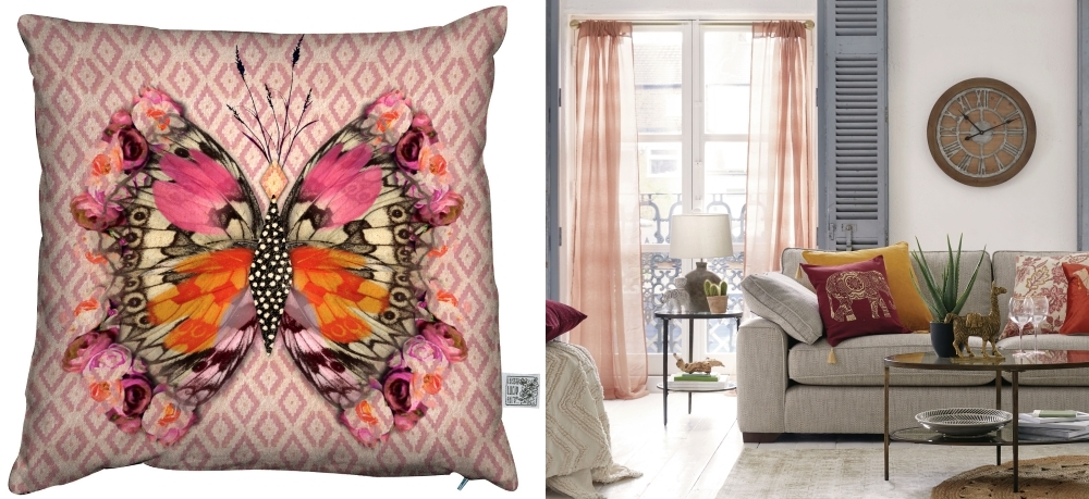 Apollon Butterfly Coral Cushion by Beaumonde | Lille Orange Slot Top Voile Panels by Dunhelm