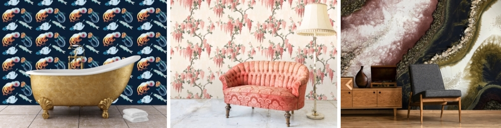 Deep Sea Wallpaper by Wilful Ink | Wisteria in Coral Wallpaper by Woodchip & Magnolia | GeodeMural by Wallsauce