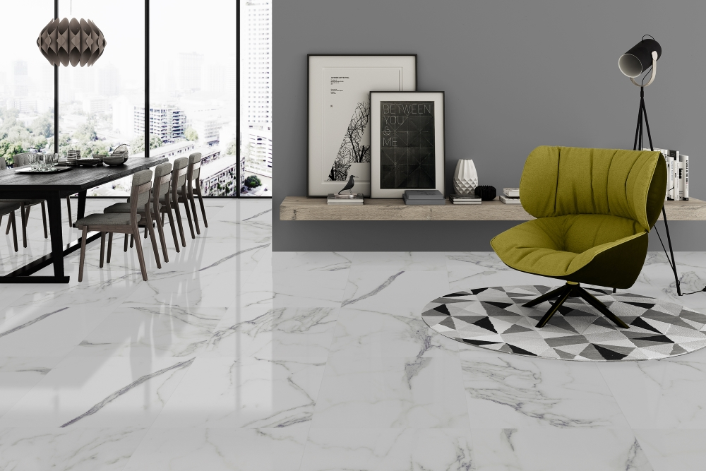 Palatina White Gloss Floor Tile | Tile Mountain