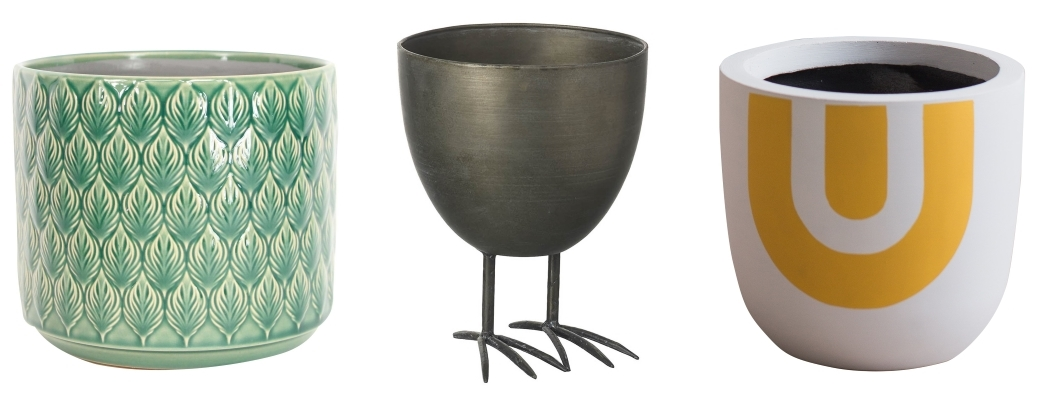Leaves Ceramic Plant Pot by Hurn & Hurn | Bird Feet Planter in Brushed Iron by Red Candy | Rainbow Print Planter by Rose & Grey