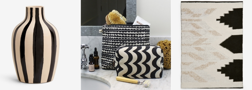 Black and White Striped Vase by Next | Monochromatic Accessories by Brownstone London | Zhara Rug by Next