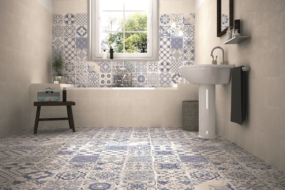 Skyros Delft Blue & Skyros Blanco Wall and Floor Tile | Tile Mountain