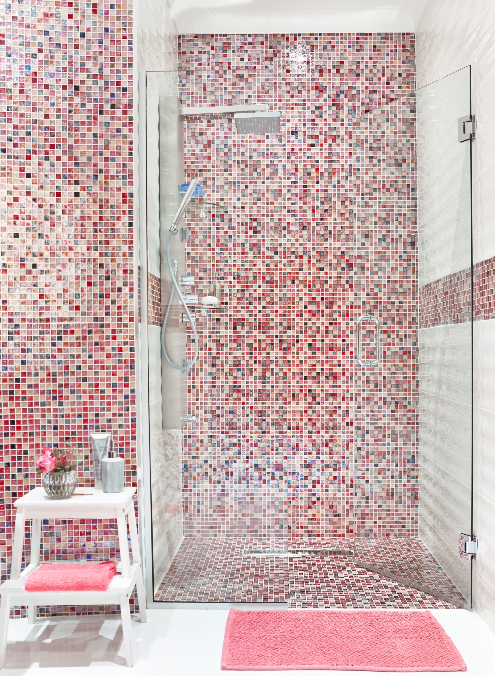 Hammered Pink Glass Mosaic | Tile Mountain
