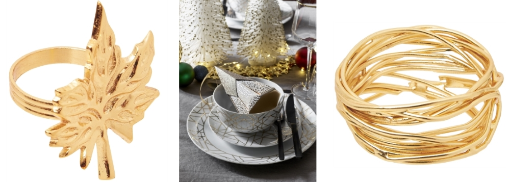 Decorative Napkin Ring by Homesense | Gold & White Dinnerware by George at Asda | Decorative Napkin Ring by Homesense