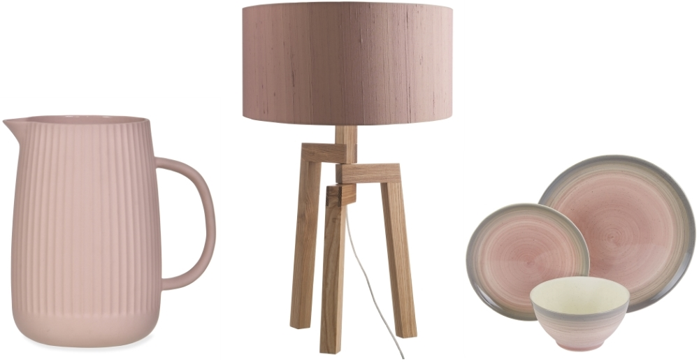 Linear Jug from the Pink Gin Collection at Garden Trading | Dylan Oak Lamp Base & Pink Shade from Habitat | Atkinson Pink Stoneware Dining Set from Habitat