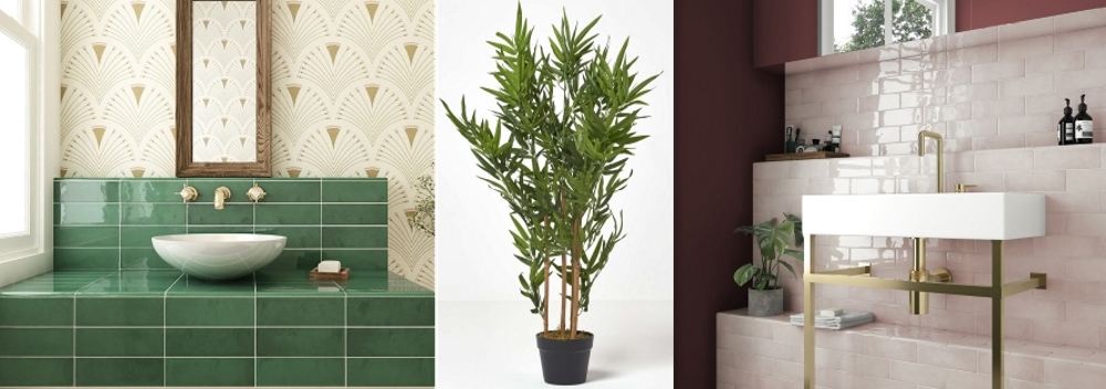 Village Emerald Green Wall Tiles by Tile Mountain | Artificial 5ft Bamboo plant from Homescapesonline | Village Rose Gold Wall Tiles by Tile Mountain