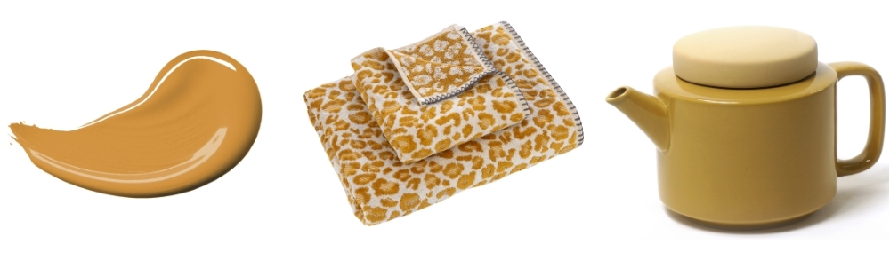 Sunflower Symphony 3 by Dulux   Lola Leopard Print Towels from Anthropologie   Kinta Teapot from Abode Living