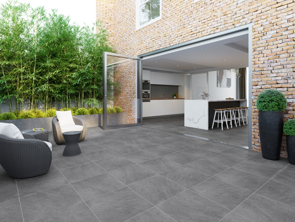 Dakota Dark Grey Outdoor Riven Porcelain Slab | Tile Mountain