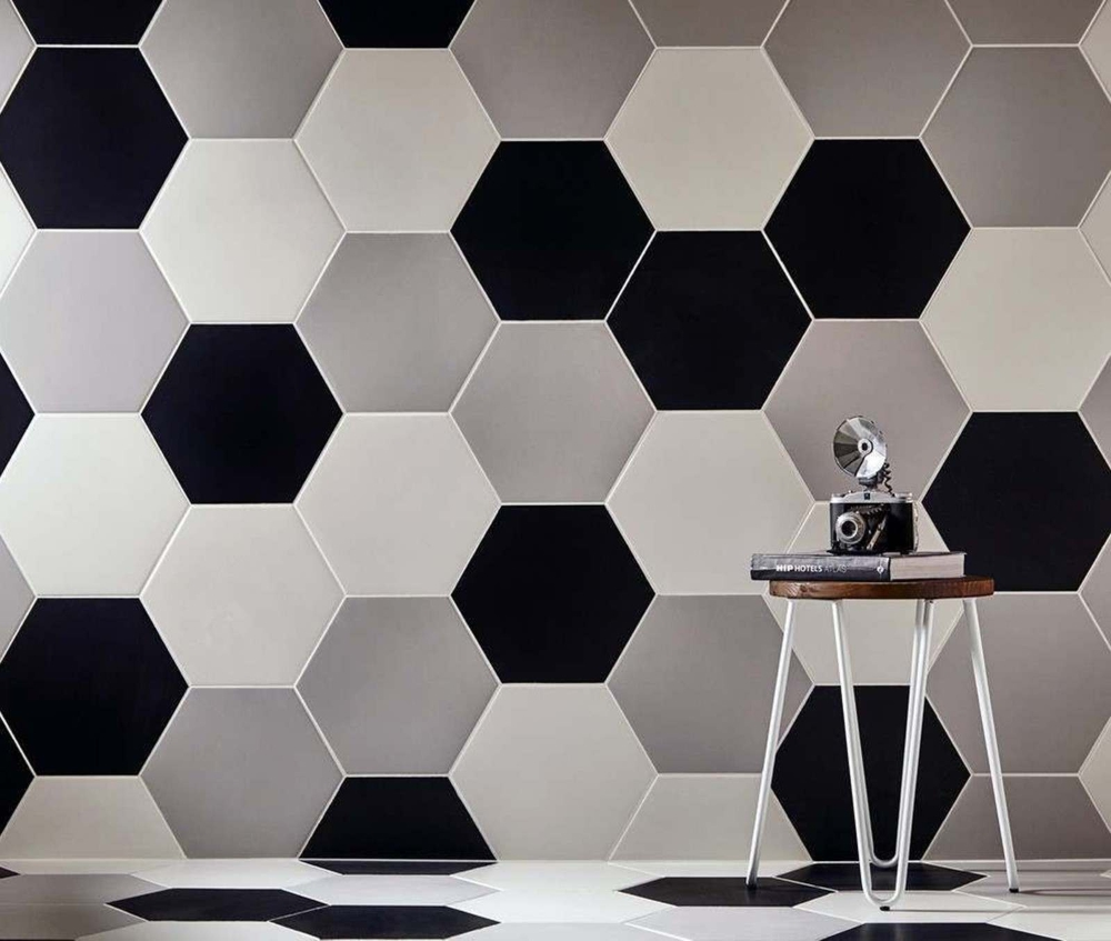 Apollo Hexagon Black & Apollo Hexagon Grey | Tile Mountain