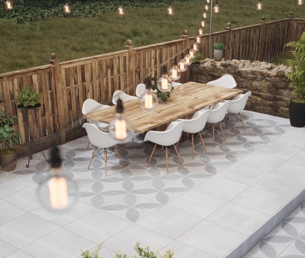 Hardblue Grey & Hardblue Grey Decor Outdoor Slab Tiles   Tile Mountain