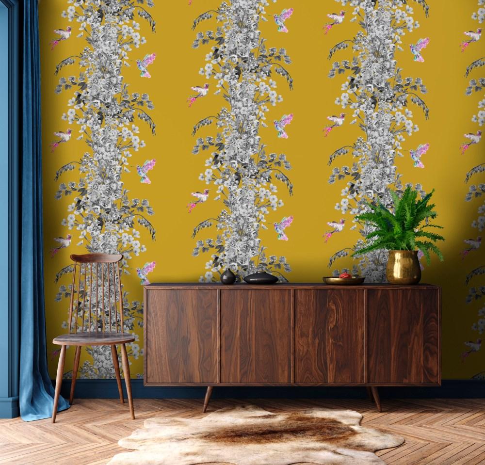Hummingbird Black White Mustard Wallpaper | Lola Design
