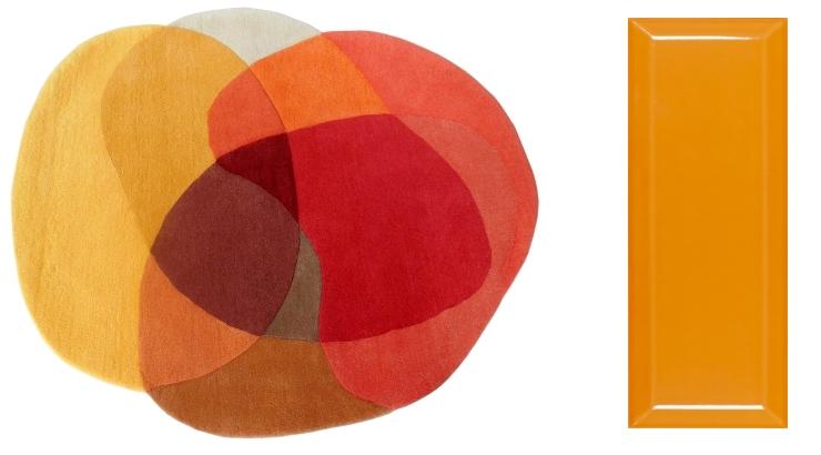 Jellybean Mango Yellow Rug by Sonya Winner | Metro Orange by Tile Mountain