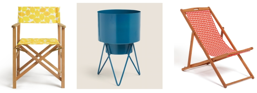 Lemons Wooden Director's Chair | Lois Teal Medium Planter | Geo Orange Wooden Deckchair all from Habitat
