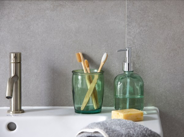 Recycled Glass Lotion Dispenser and Tumbler   Dunelm