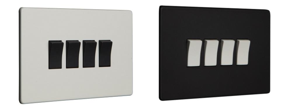 Black & White and White & Black Quadruple Rocker Switches | Dowsing & Reynolds