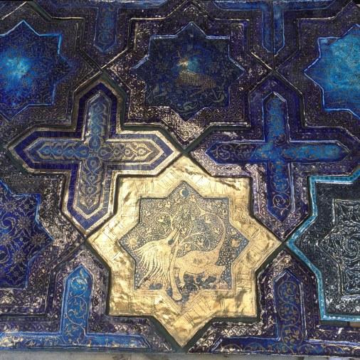Tile artisan Boris Aldridge | Cobalt and gold lustreware tile panel