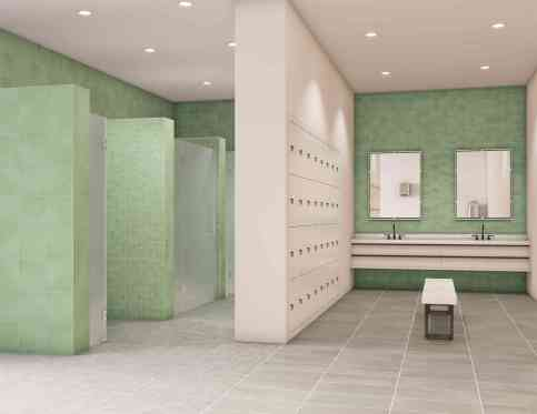 CrossvillCrossville's Color Blox 2.0 Porcelain Tile Collection in Locker Room
