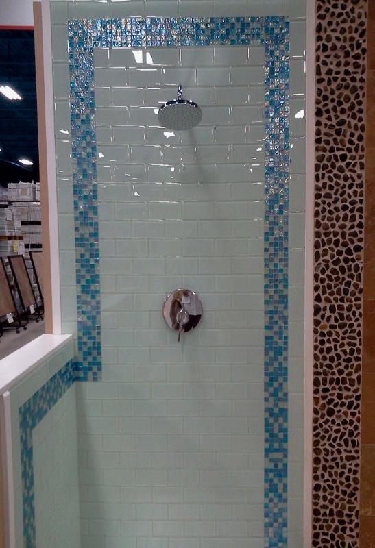 subway tile in glass travertine