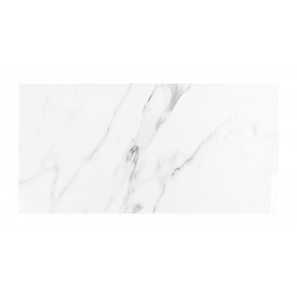carrara white gloss marble effect rectified porcelain 30cm x 60cm wall floor tile