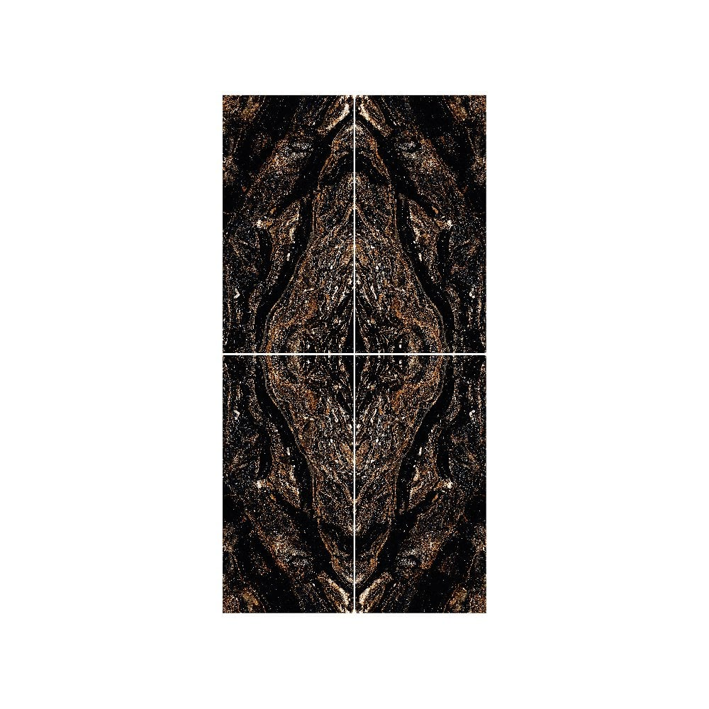 gold galaxy black bookmatch 4 tile set wall floor tile