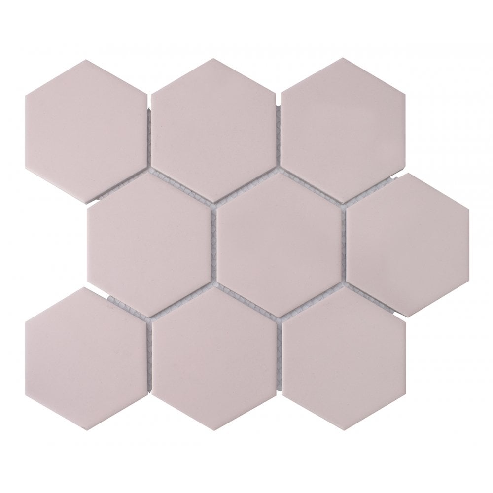 hexagon matt pink mosaic 9 5cm x 9 5cm 29 5cm x 25 6cm wall floor tile
