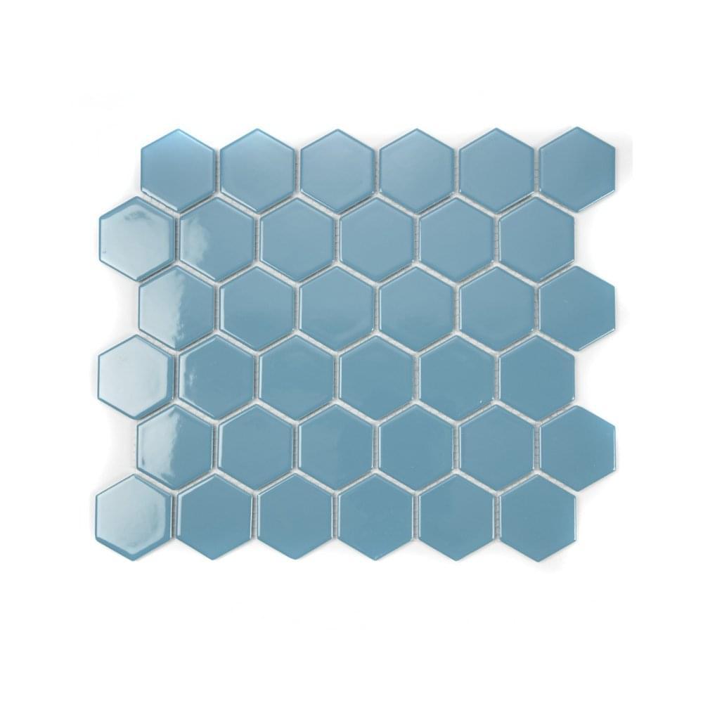 hexagon teal gloss 5 1cm x 5 1cm 32 5cm x 28 1cm mosaic tile