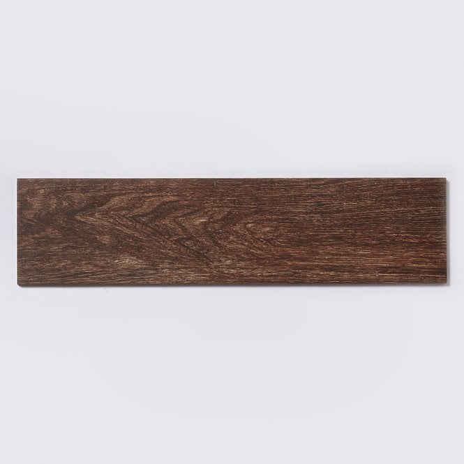 napoli dark wood effect 15cm x 60cm glazed porcelain tile
