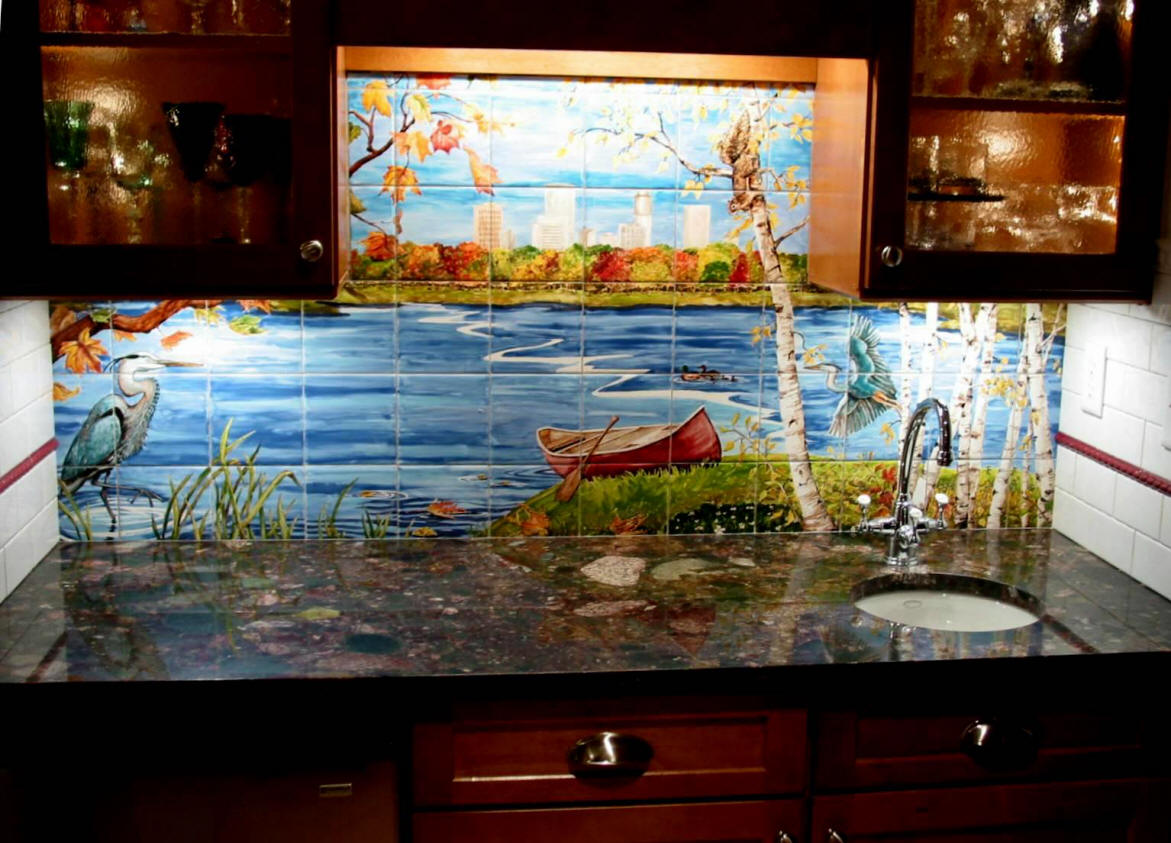 Heron Lake Custom Tile Mural