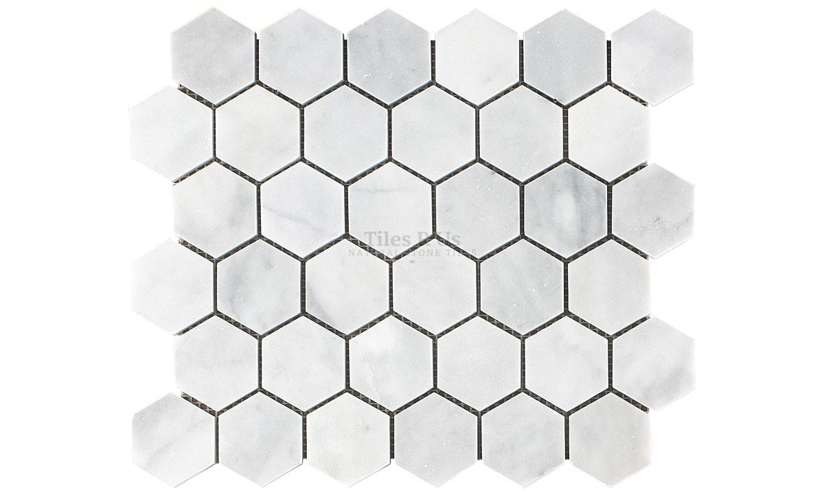 mosaic marble polished carrara white hexagon 265x305x10mm