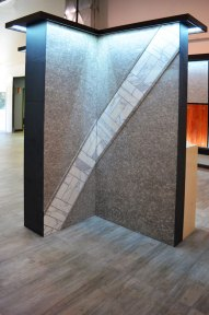 Bolder Panels and Marble small tiles installed in the Stone Source - Tile Source International Showroom
