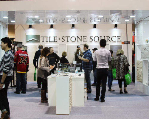 TIle and Stone Source's booth at the Calgary Home + Garden Show 2016
