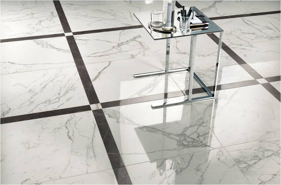 Marble Imitation Calacutta X installed with contrasting tile