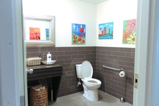 Element Smoke 3x12 installed on bathroom walls